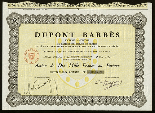 Une action Dupont Barbès (collection Nicole Jacques-Lefèvre)