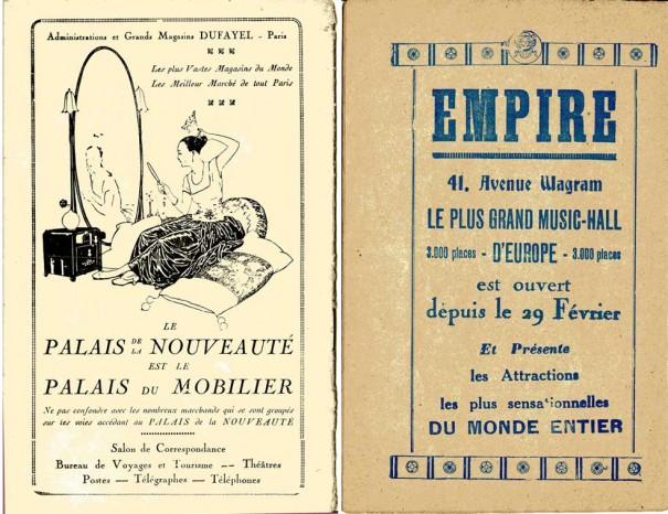 Magasins Dufayel (dos de la brochure) et Salle Empire page 18