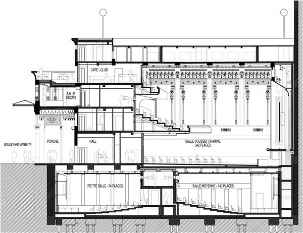 Coupe longitudinale © Illustration Architectes- Réalisation Art Graphique et Patrimoine