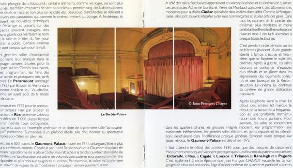 """Brochure de l'exposition """"Enquête d'un projectionniste"""", pages 6-7 : le Barbès-Palace (actuel magasin Kata) Photo J.F.Chaput"""
