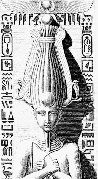 """""""Détail d'un pilier cariatide du péristyle du palais de Medynet-Abou"""", dans la Description de l'Egypte, 1809-1829, Antiquités, volume II, planche 7."""