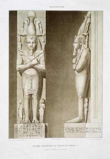 Emile Prisse d'Avennes, Histoire de l'art égyptien, Atlas, Paris, 1858-1879, planche I-44, piliers cariatides(sic) du temple de Ramsès III à Médineh-Thabou (sic).4