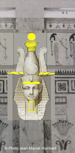 Détail de la planche de Prisse d'Avennes, avec les principaux éléments constitutifs de la couronne Atef et le némès.