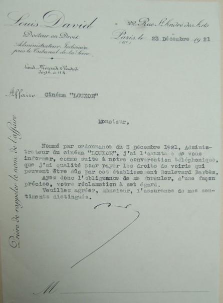 demande administrateur 23-12-1921