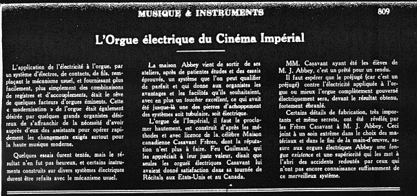 Revue Musique et instruments, 10 juillet 1927
