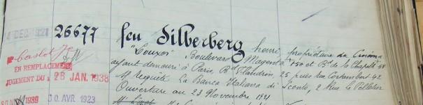 Extrait du registre de déclaration de faillite : H. Silberberg n'eut guère le temps de profiter du Louxor