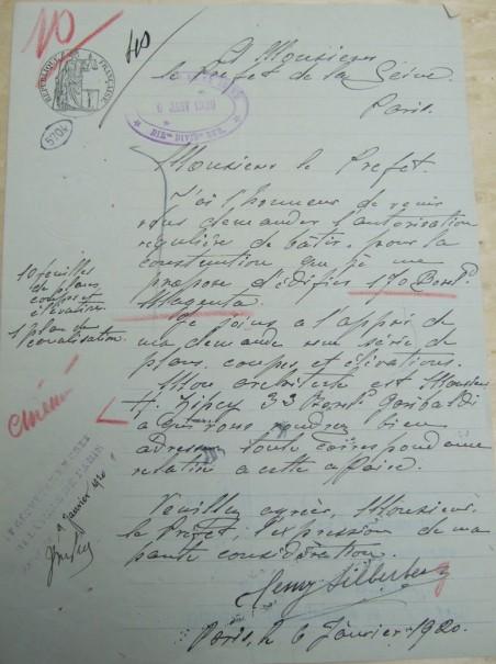 Lettre d'Henry Silberberg, 6 janvier 1920