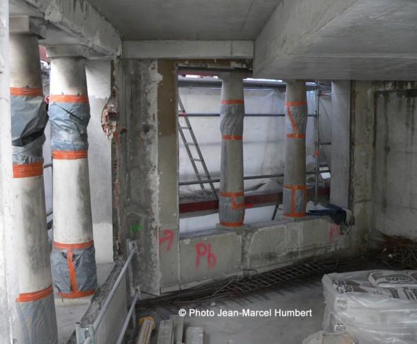 Protection des mosaïques pendant les travaux de gros oeuvre