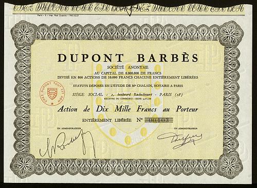 Une action Dupont Barbès (collection Nicole Jacques-Lefèvre)