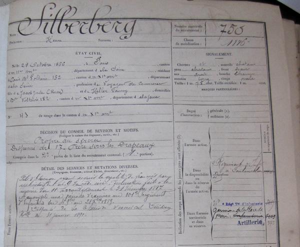Extrait du livret militaire d'Henry (Archives de Paris)