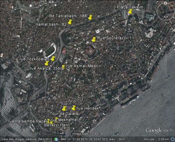 lieux d'habitation et de travail de la famille Zipcy à Péra