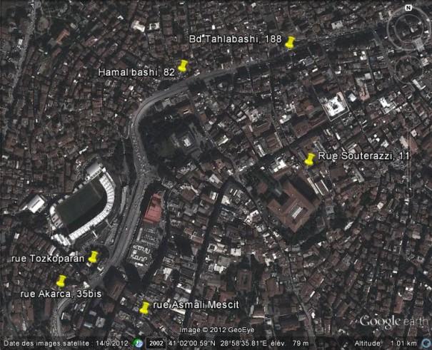 Localisation des habitations des parents d'Henri Zipcy