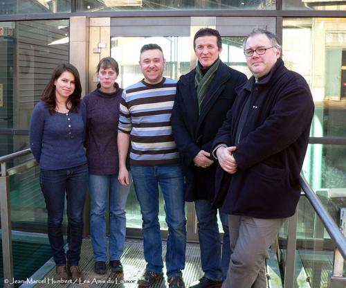 L'équipe des archivistes du RMN et les auteurs de La Messagère. De gauche à droite : Céline Heytens, Agathe Demersseman, Xavier Aumage, Claude Plumail et Jean-Christophe Derrien