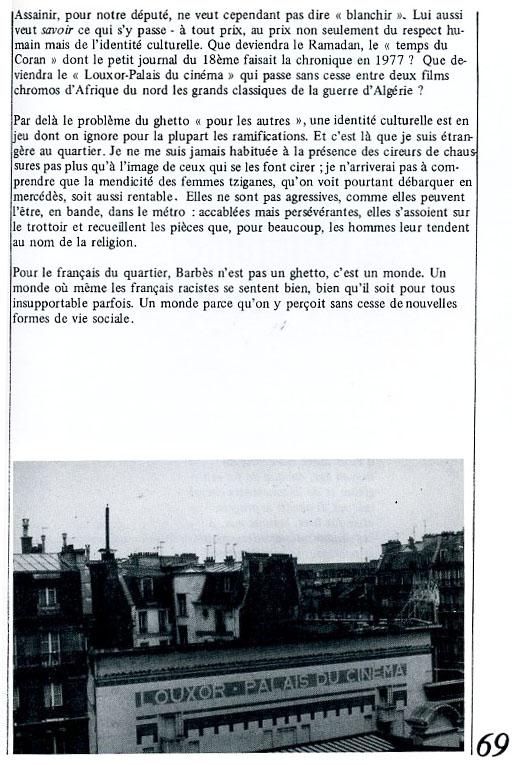 Le Louxor dans la revue Les Révoltes logiques, 1980.