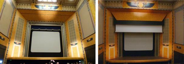A gauche : l'écran de 1921 – à droite : descente du grand écran