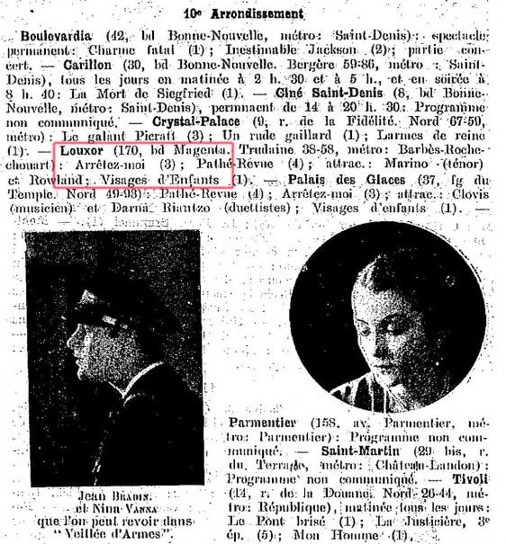 Programme des cinémas du 10e - La Semaine à Paris, 2 octobre 1925