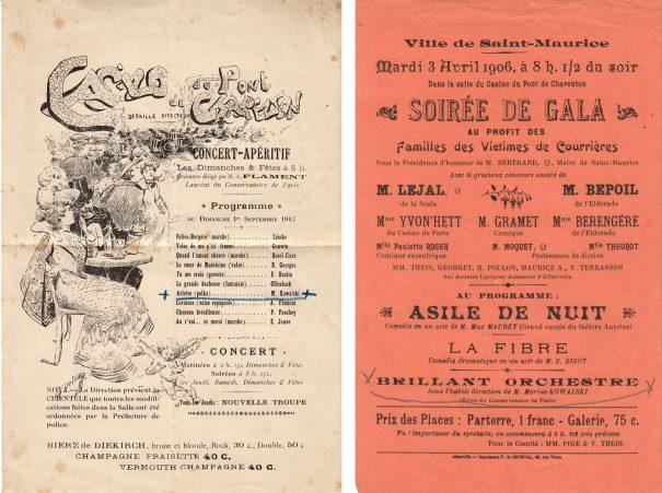 Programmes (concert-apéritif 1er déc.1907 et soirée 3 avril 1906)
