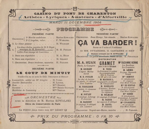 Casino de Charenton 11 décembre 1906