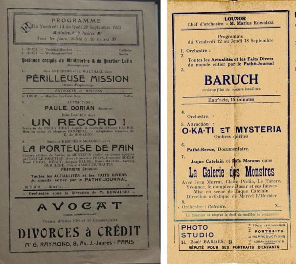 Programmes du Louxor 1923 et 1924