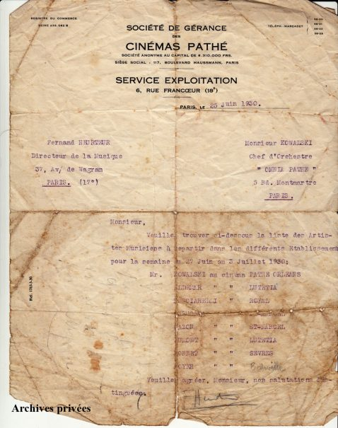 Lettre du directeur d ela musique de Pathé à M. Kowalski (25 juin 1930)