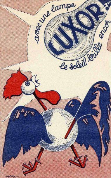 Buvard publicitaire pour les lampes Luxor, vers 1950 (collection Jean-Marcel Humbert)