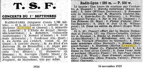 Programmes des concerts (L'Intransigeant- Le Gaulois)