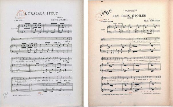 Deux partitions de Marius Kowalski conservées à la Bibliothèque nationale de France L'tralala itout (1909) et Les Deux étoiles, rêverie (1910)