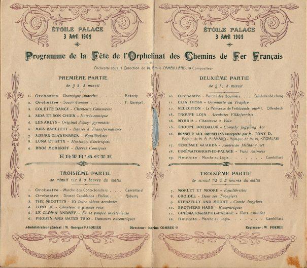 Etoile Palace, 3 avril 1909